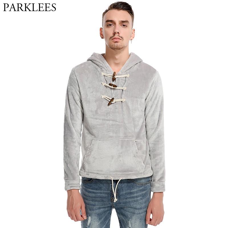 Fashion Coral Velvet Men Hoodies Sweat Homme 2017 New Horn Button Mens Hooded Sweatshirt Casual Slim Fit Men Hoodie Sweatshirts