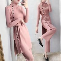 Fashion suit Female spring New High end fashion temperament knit sweater + vest + wide leg pants casual three piece suit women