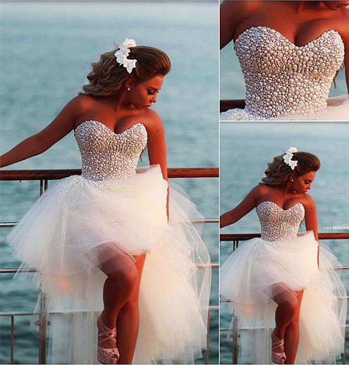 Hi Low Vestido De Noiva 2019 Wedding Dresses A-line Sweetheart Tulle Pearls Short Beach Dubai Arabic Wedding Gown Bridal