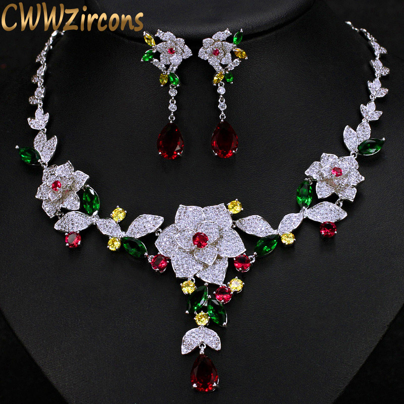 CWWZircons Luxury Micro Pave Cubic Zirconia Multicolour Big Flower Women Wedding Costume Necklace Jewelry Set For