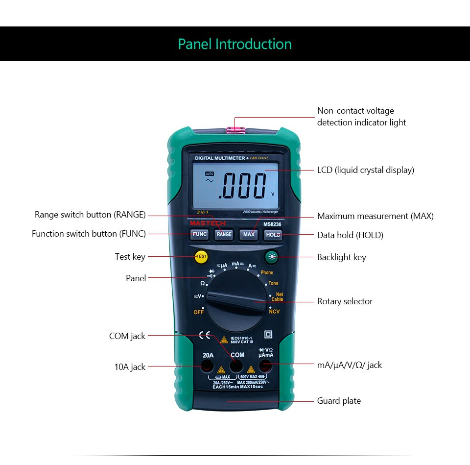 Mastech Ms8236 Digital Multimeter Netwoek Cable Tester Net Lan 10base Bnc Rg45 And Rj11 Etc Circuit Testers 1 Receiver Pair Test Leads Network English Manual Carry Bag