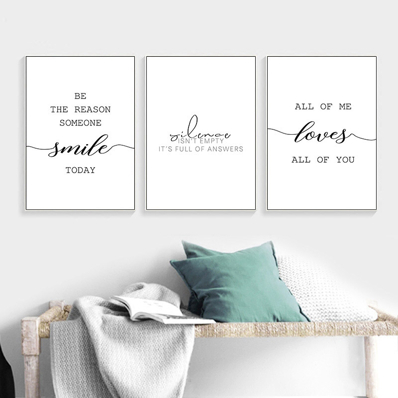 Canvas Posters Inspirational Minimalist Print Black White Motivational Love Quote Wall Art Painting Nordic Decoration Pictures