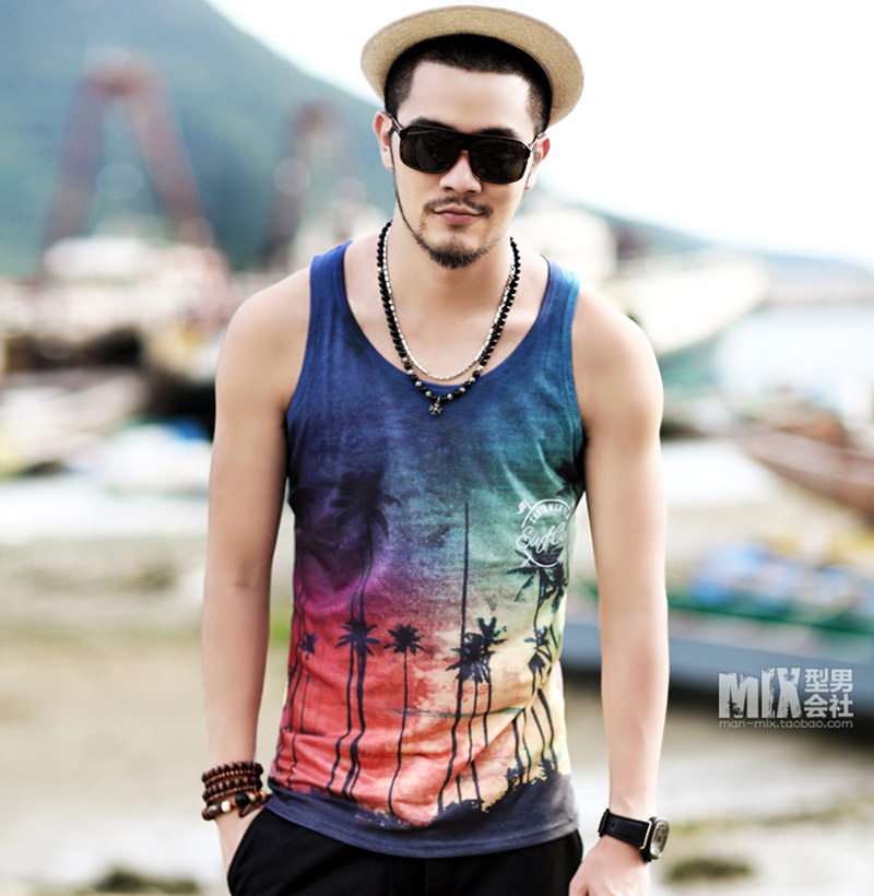 Scenery printed men's casual vest sleeveless   tank     tops   comfortable summer beach   tank     top   men cotton   tops   T-38 summer new