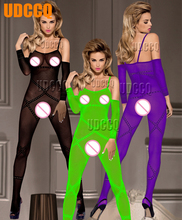 lingerie sexy hot erotic Underwear Intimate costumes Nightgown Bodystocking Sex Products Chemises Tight bodysuit+glove 3370 ku s sexy toy coveralls bodystocking sex products cross sexy body suit erotic dress