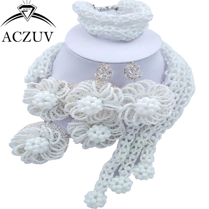 ACZUV Latest White African Jewelry Set Dubai Nigerian Wedding Beads Jewellery Sets C3F012