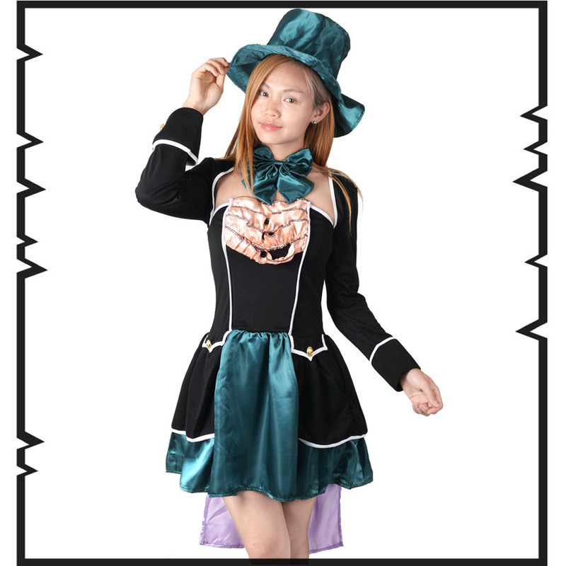 Alice in Wonderland Mad Hatter Cosplay Costume Adult Halloween Costumes Custom made Fancy Clown Costume joker Cosplay euro size
