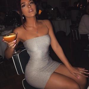 Image 3 - Женское Короткое облегающее платье Chrleisure, пикантное обтягивающее мини платье на тонких лямках, для ночного клуба, на лето