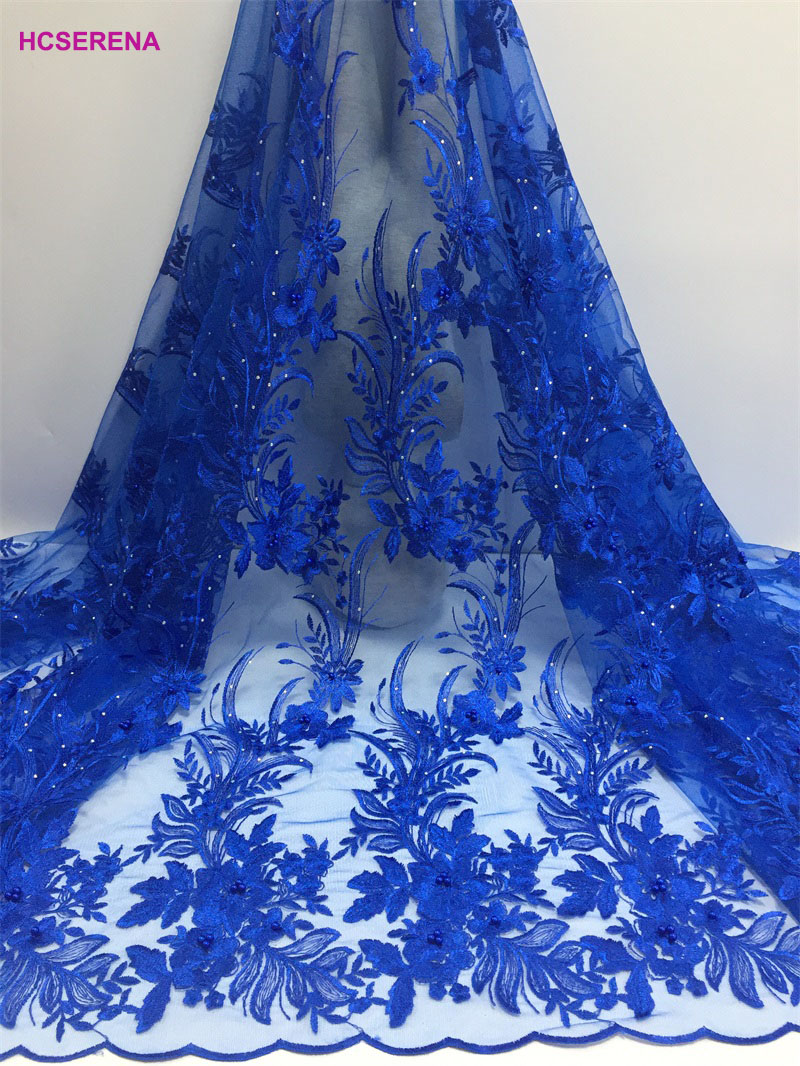 2019 High Quality Nigerian Tulle Lace Fabrics Latest Beaded Mesh African Lace Fabric Bride French Net