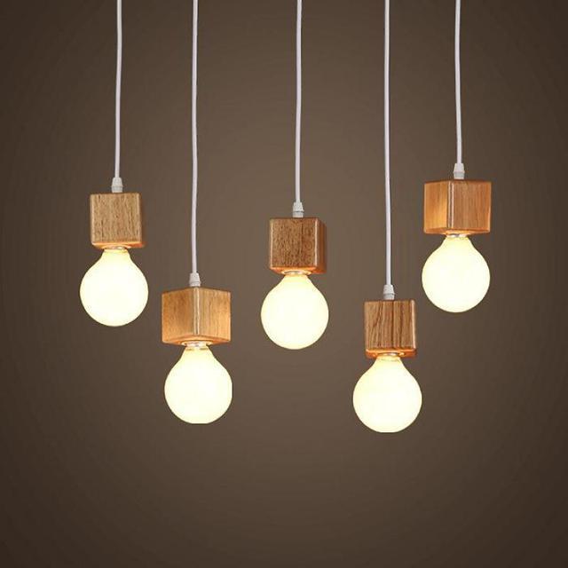 massief hout moderne hanglamp woonkamer eetkamer hout bal houten
