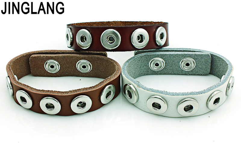 JINGLANG Free Shipping Fashion 12mm Snap Buttons 3 Color Leather Infinity Cuff Bracelets For Women DIY Interchangeable Jewelry image