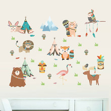 Funny Animal Indian Tribe Wall Stickers For Kids Room Home Decor Accessories Cartoon Owl Lion Bear Fox Wall PVC Mural Art Decals(China)