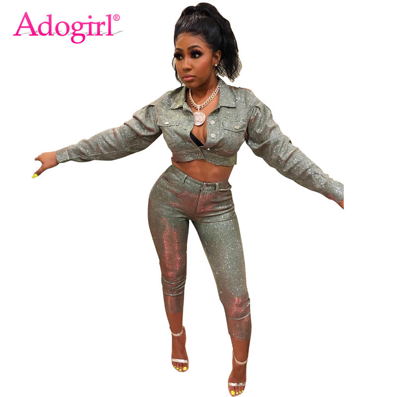 Adogirl Fashion Sequins Two Piece Set Turn Down Collar Long Sleeve Short Jacket Crop Top + Skinny Pants Night Club Suit Outfits