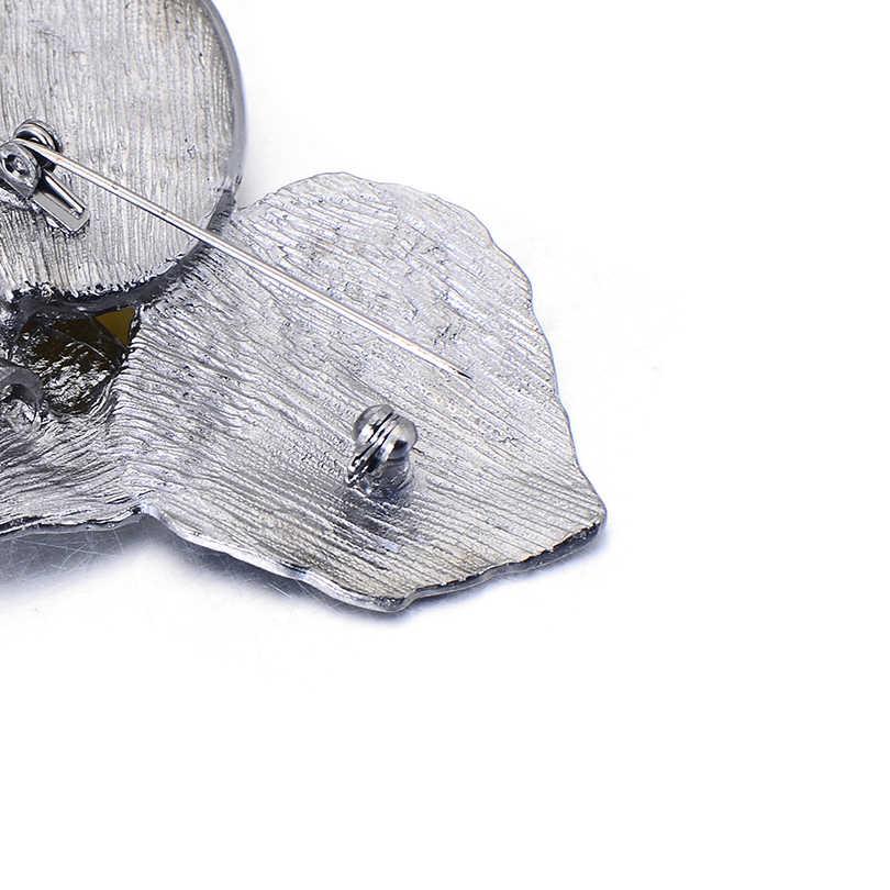 Pipitree Elegan Retro Ganda Daun Bros Wanita Vintage Perak Warna Batu Alam Perhiasan Bros Pins untuk Wanita Aksesoris