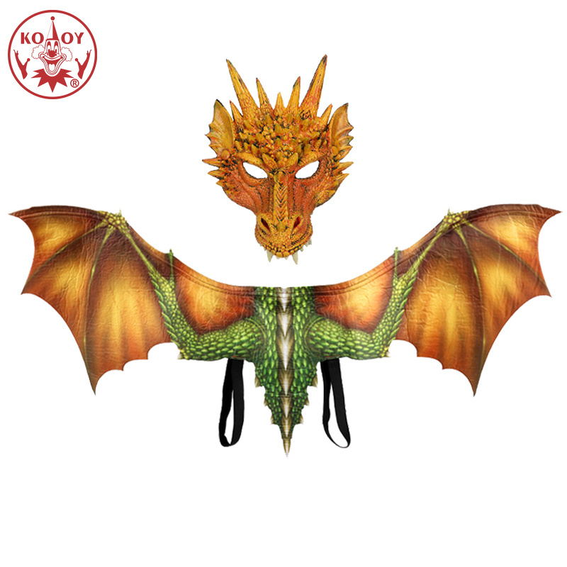 KOOY Adult Boy and Girl Kids Halloween Decoration Carnival Party Animal Costume Dragon Cosplay Masquerade Face Mask and Wings