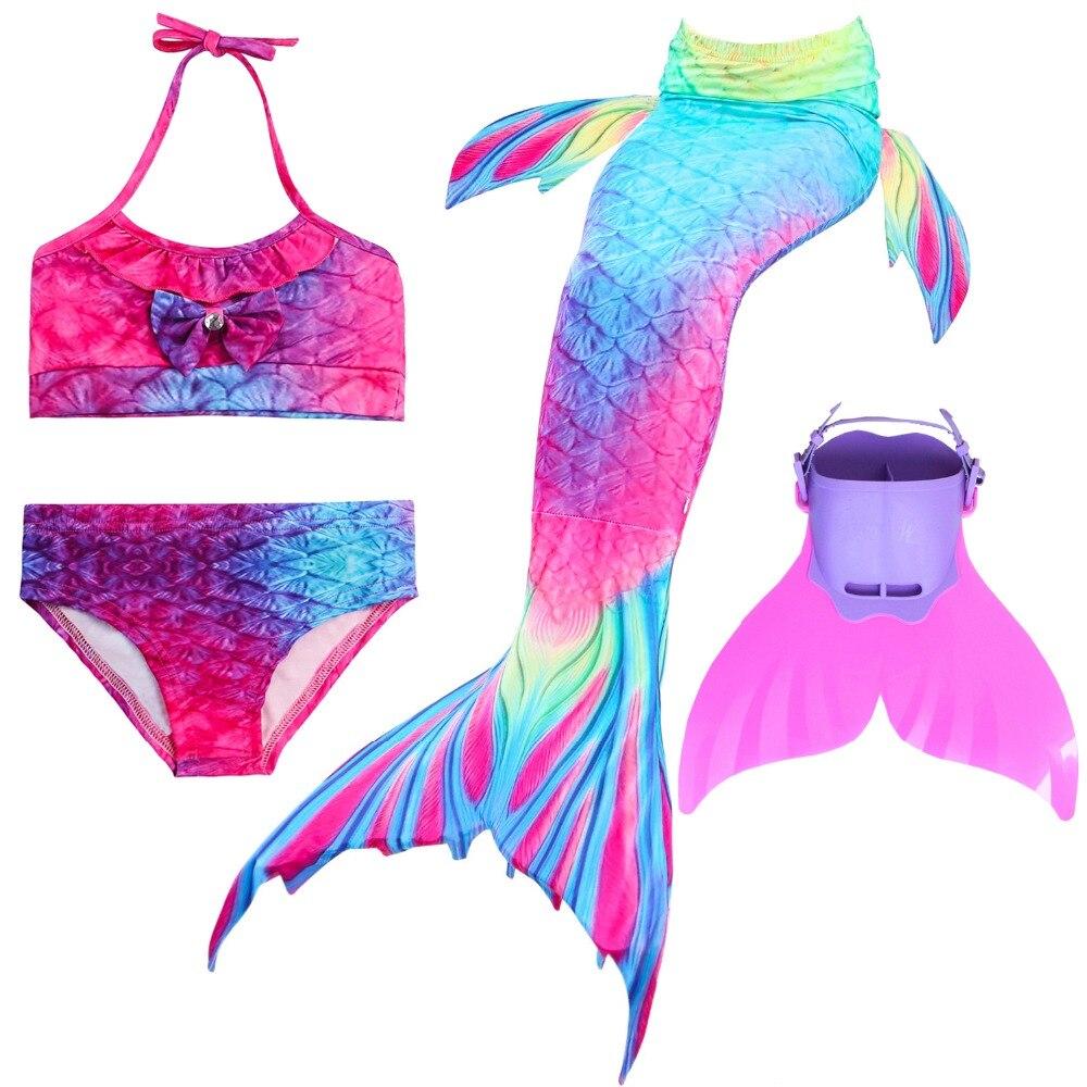 Children Mermaid Tail Princess Dress Baby Girls Kids Mermail Tails With Monofin Cosplay Swimsuit Costume Swimwear Bikini Dress