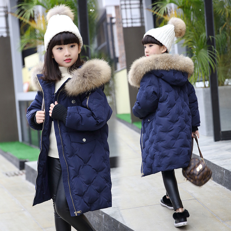 Russian Winter Thick Warm Long Girls White Duck Down Coats Boys Coats Hooded Fur Collar Girls Jackets Kids Parkas WUA810081