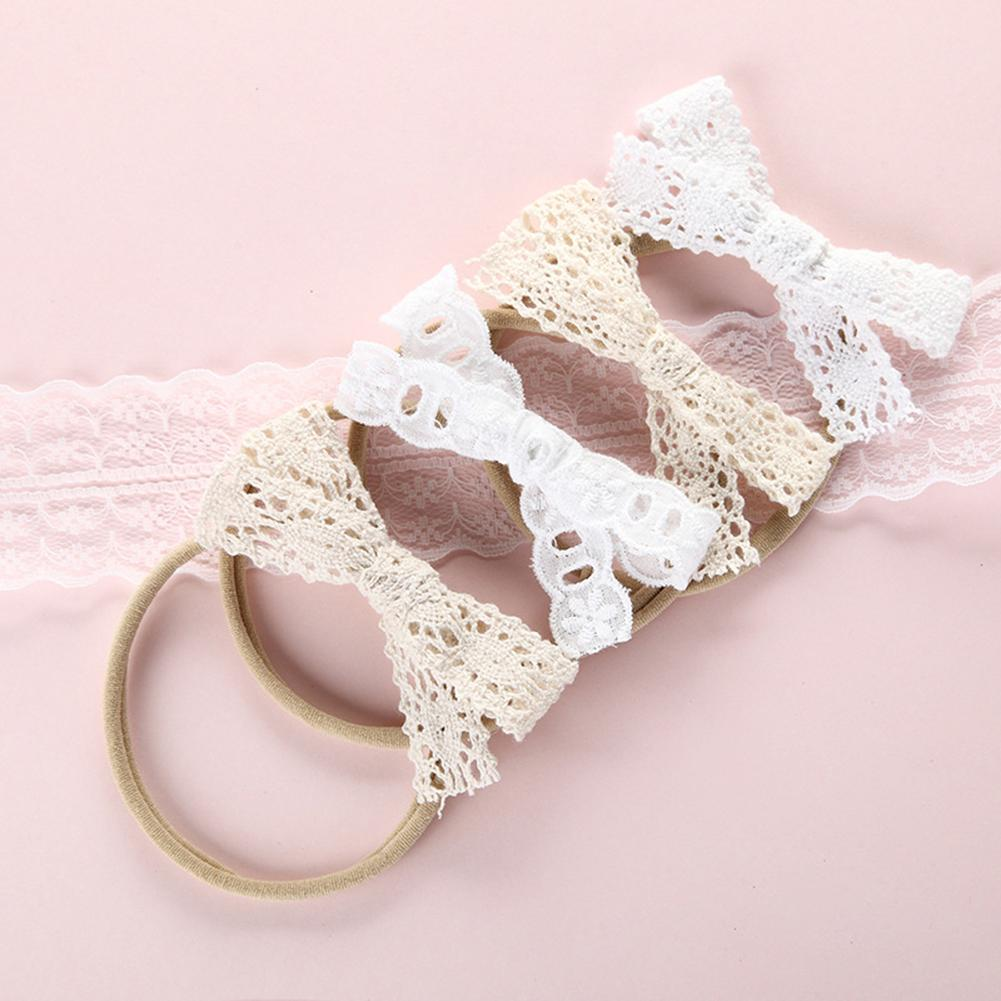 Beautiful New Baby Infant Girls Bowknot Lace Nylon Headband High Elastic Children Scrunchies Baby Hair Band Hair Accessories
