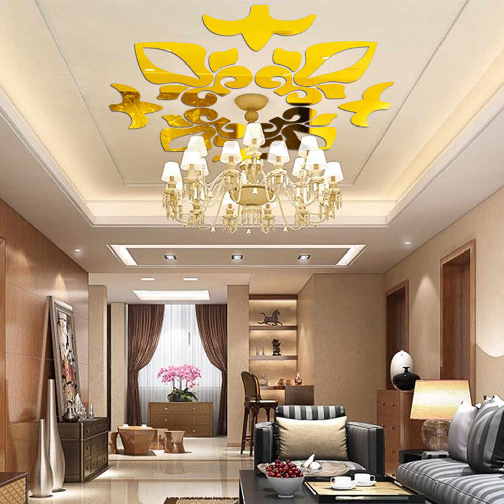 Creative Abstract Acrylic Style 3D Wall Stickers Mirror Ceiling Wall Mirrors 2017 New Mirror Acrylic wall stickers Wallpaper