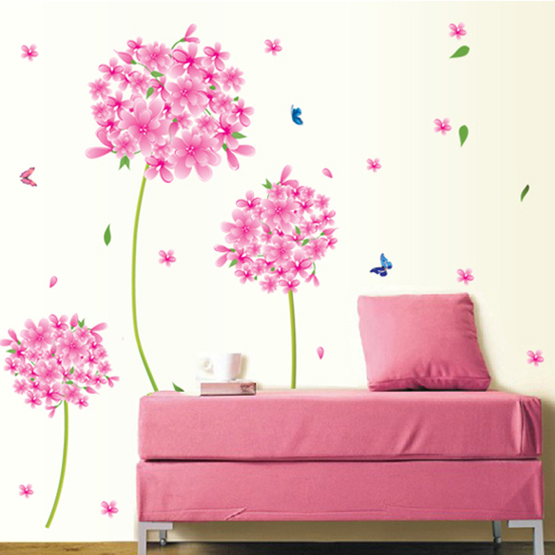 Pink Flowers Blue Butterflies Wall Sticker Home Decal kids ...