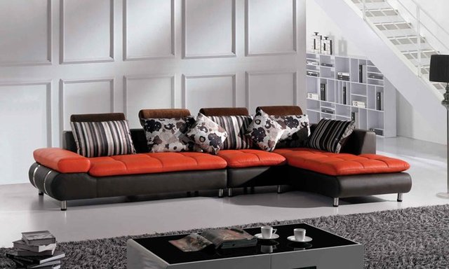 Living room small apartment really leather and cloth corner sofa.-in ...