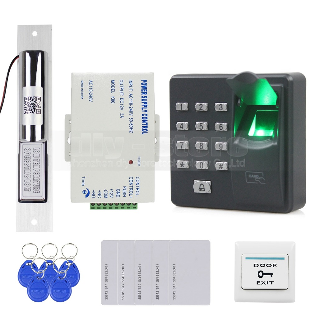 DIYSECUR Biometric Fingerprint RFID 125KHz Password Keypad Door Access Control System Kit Electric Bolt Lock