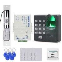 DIYSECUR Biometrische Vingerafdruk RFID 125 KHz Wachtwoord Toetsenbord Deur Toegangscontrole Systeem Kit + Elektrische Grendelslot|electric bolt lock|bolt lockkeypad door access -