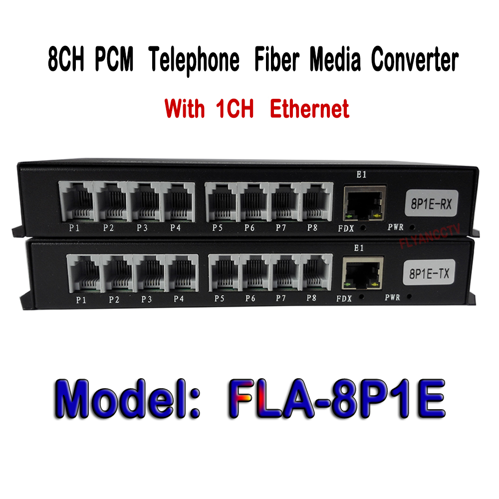 8 Channel PCM Voice Fiber Single Mode 20KM Telephone Converter Optical Media Converter Transmitter and Receiver + 1Ch Ethernet 4 channel pcm voice telephone fiber optical media converter with 1ch ethernet 1pair fc single mode 20km multi mode 300meters