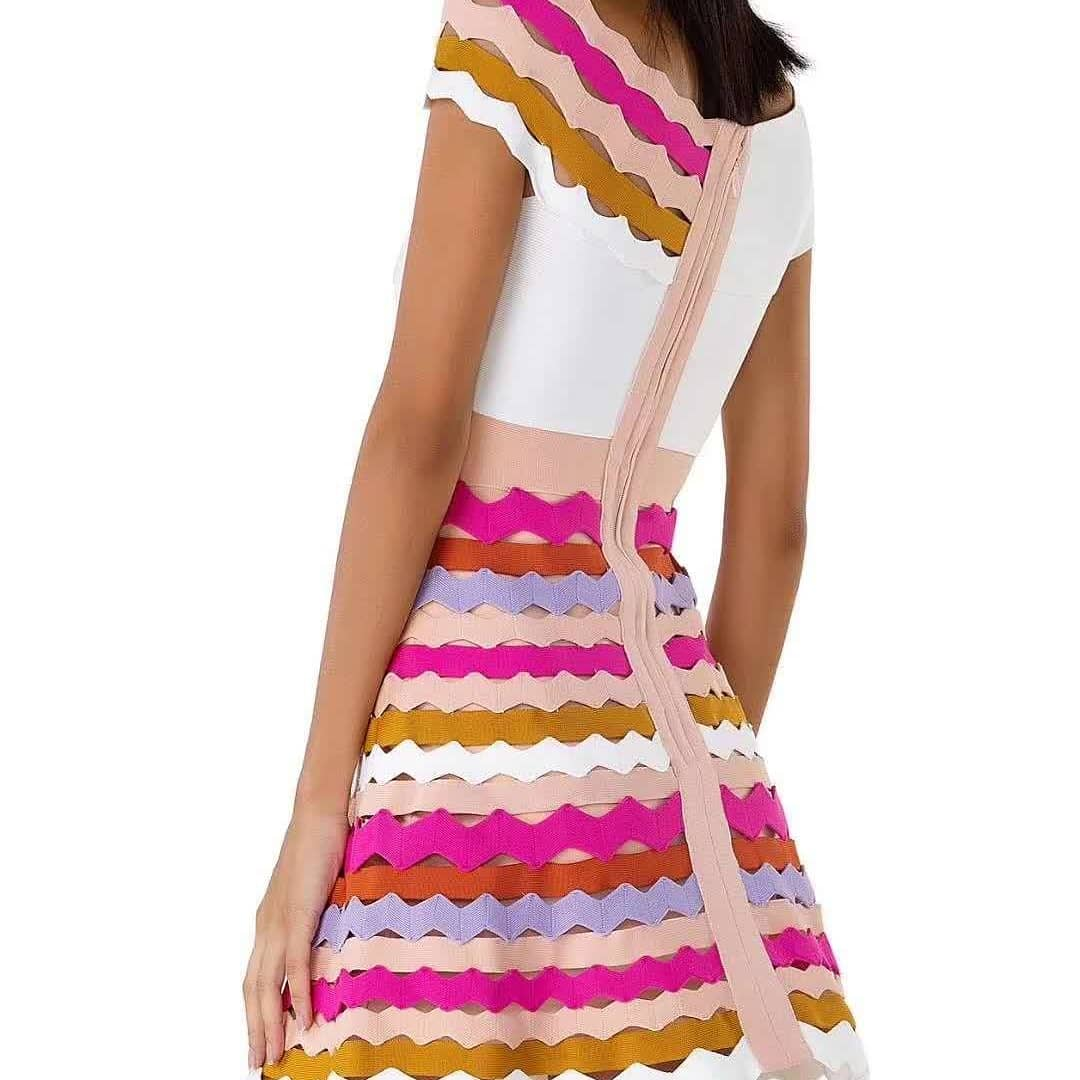 Delocah, модное осеннее Мини Короткое платье для подиума, женское платье с расклешенными рукавами, с принтом персонажа, кружевное Сетчатое элег... - 3