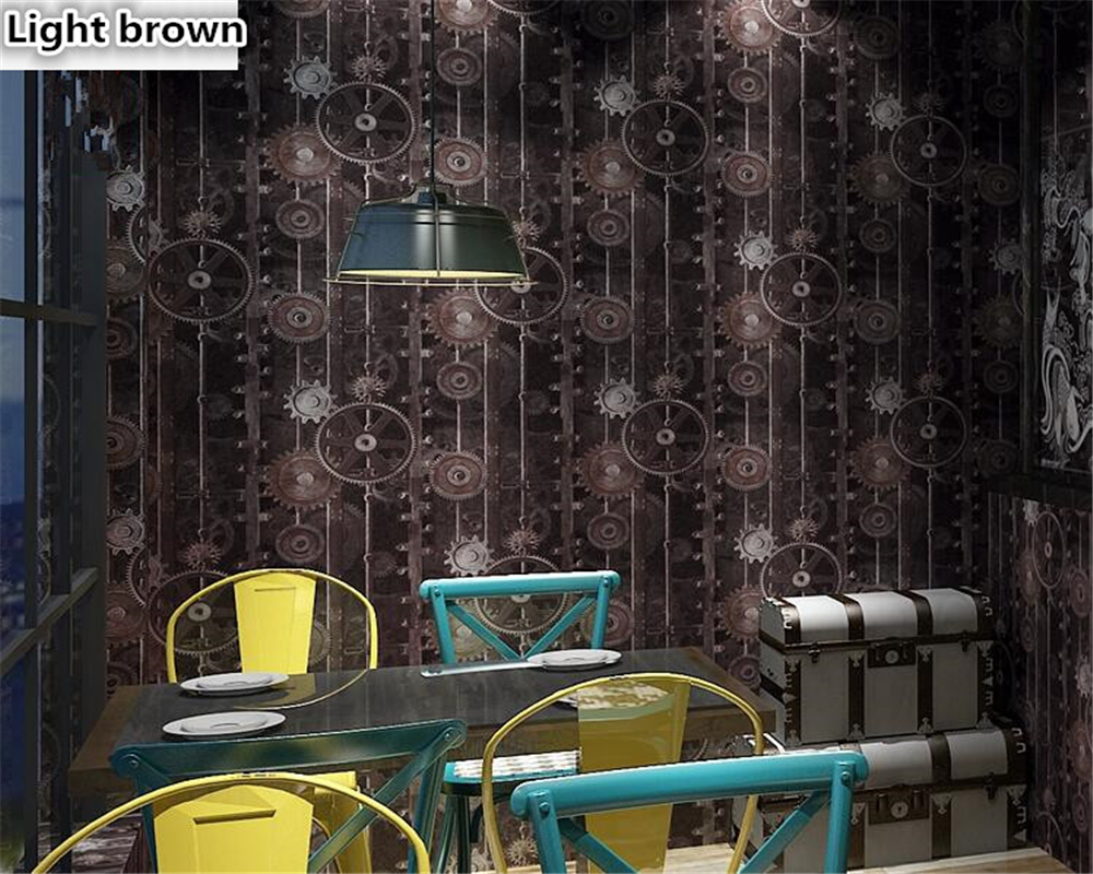 beibehang American style retro Industrial Wind Gear wall paper decoration net cafe cafeteria PVC papel de parede 3d wallpaper in Wallpapers from Home Improvement