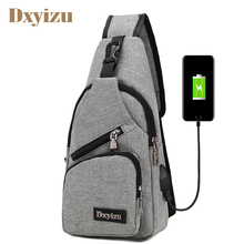 USB Charging Fashion Men Travel Chest Pack Casual Single Shoulder Strap Messenger Bag Nylon High Quality Bags
