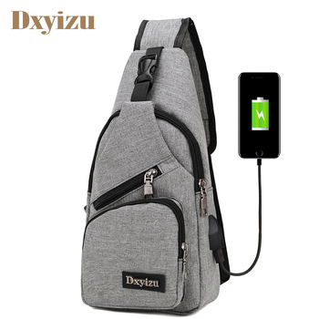 Fashion USB Charging Men Travel Chest Pack Casual Single Shoulder Strap Messenger Chest Bag Nylon High Quality Crossbody Bags promotions new arrived men s chest pack casual shoulder pu leather crossbody bags travel messenger bag with usb interface