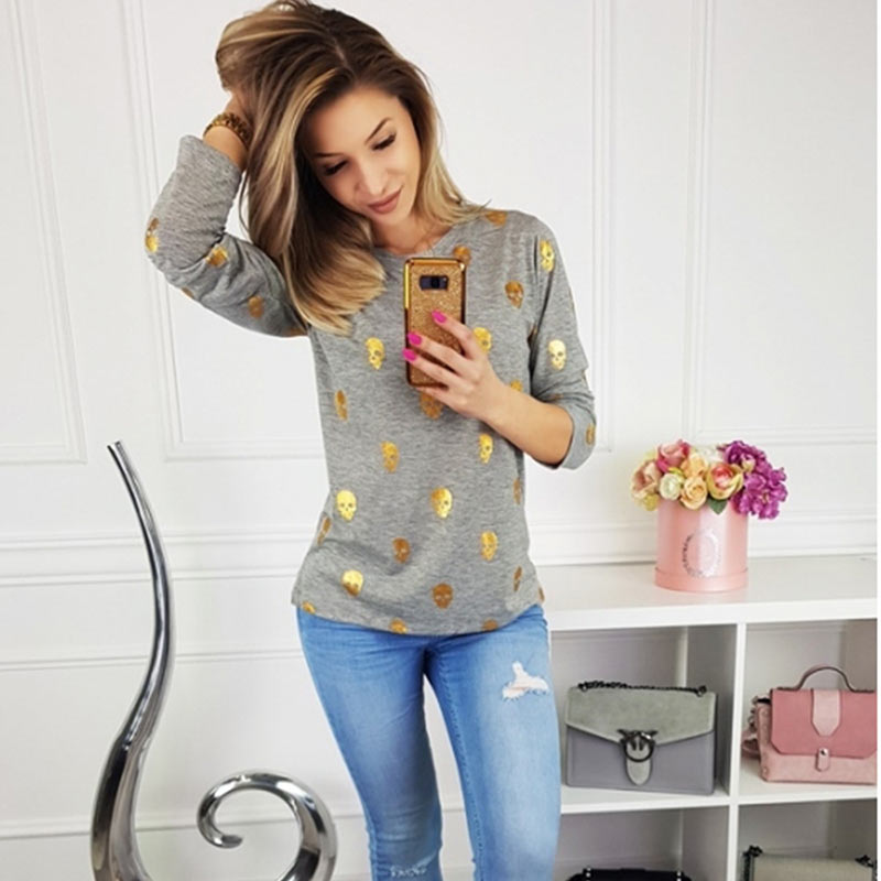 T Shirt Women Streetwear Autumn Skull Bronzing Print Tops Fashion Casual Long Sleeve Round Neck Slim Tee Shirt Femme Clothes (4)
