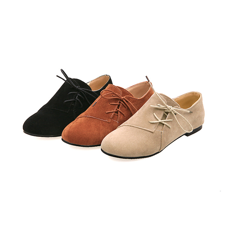 Image 4 - Oxford Shoes For Women Large Size 34 43 Womens Fashion Shoes Woman Flats Spring Female Ballet Metal Round Toe Solid Casual B 5oxford shoes for womenoxford shoeswomen flats -