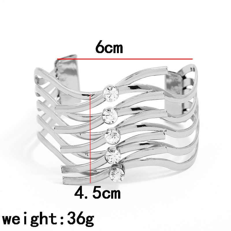 LZHLQ Fashion Metal Bracelets Trendy Women Maxi Punk Geometric Bracelet Opening Adjustable Smooth Wide Cuff Bangles