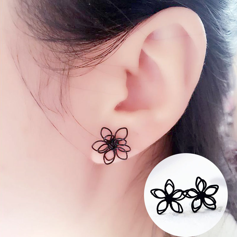 Sale 1Pair New Black Plum Flower Double Sides Stud Earring For Women Girls Gifts Party ...