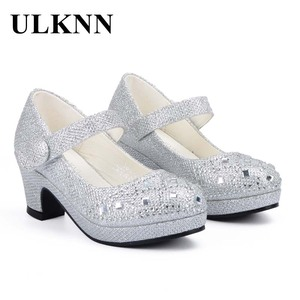 Image 2 - ULKNN Children Princess Shoes for Girls Sandals High Heel Glitter Shiny Rhinestone Enfants Fille Female Party Dress Shoes