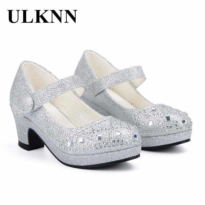 b01ea8c7be ULKNN Children Princess Shoes for Girls Sandals High Heel Glitter Shiny  Rhinestone Enfants Fille Female Party Dress Shoes