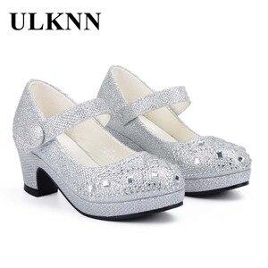 Image 2 - Ulknn crianças princesa sapatos para meninas sandálias de salto alto brilho brilhante strass enfants fille feminino vestido festa sapatos