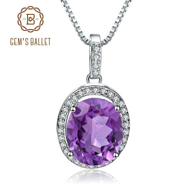 GEMS BALLET collar con colgante de piedras preciosas de amatista Natural para mujer, de plata de ley 925, joyería fina de piedra de nacimiento, 1.79Ct, boda