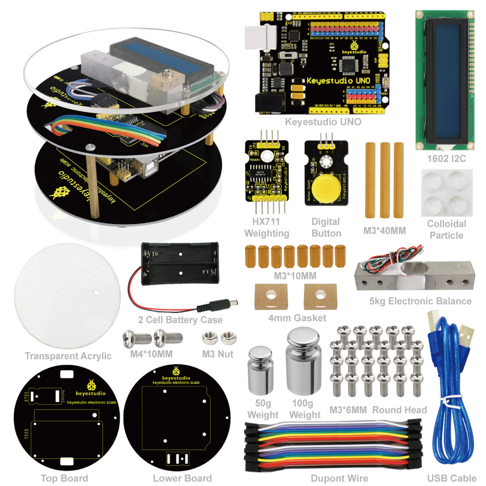 Keyestuido DIY Electronic Scale Starter Kit For Arduino Education Programming based on UNO R3 + 64 Page Book Manual ...
