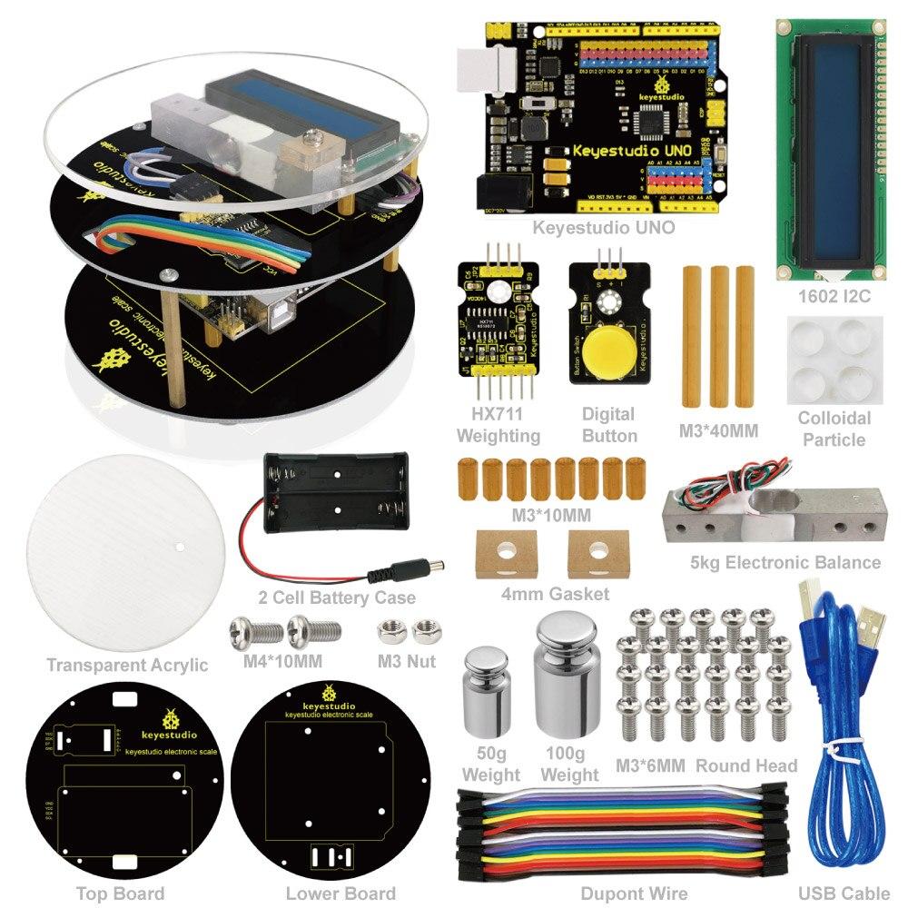 Keyestuido bricolage Kit de démarrage à échelle électronique pour la programmation éducative Arduino basé sur UNO R3 + 64 pages manuel du livre
