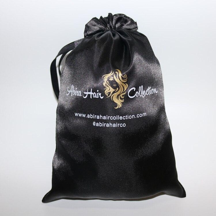 100Pcs Lot Custom Logo 18 X 30Cm Black Silk Drawstring Pocket Hair Packaging Satin Bags Tassel