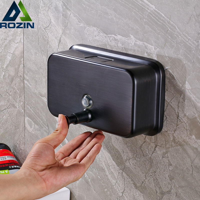Free Shipping Wall-Mount Chamber Soap Dispenser Black Color Bathroom Kitchen Soap Box Bottle 1000ml  patented product 220ml automatic induction soap dispenser energy saving desktop hand washing box suitable for kitchen bathroom