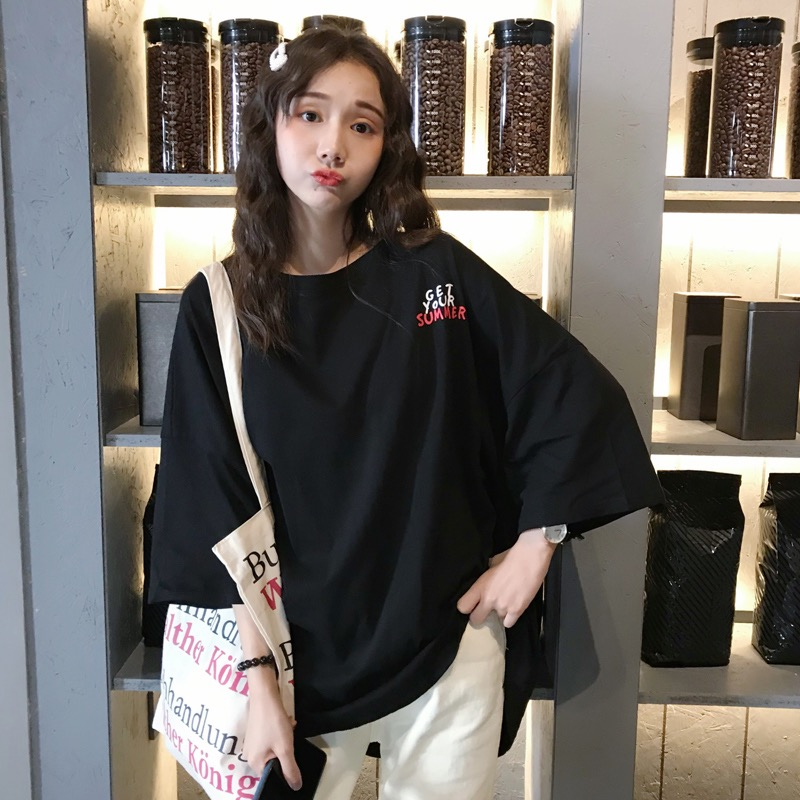 2019 Ms.Downtown new cotton plus size Women T-shirt harajuku half sleeve print GET YOUR SUMMER letter loose female casual tops