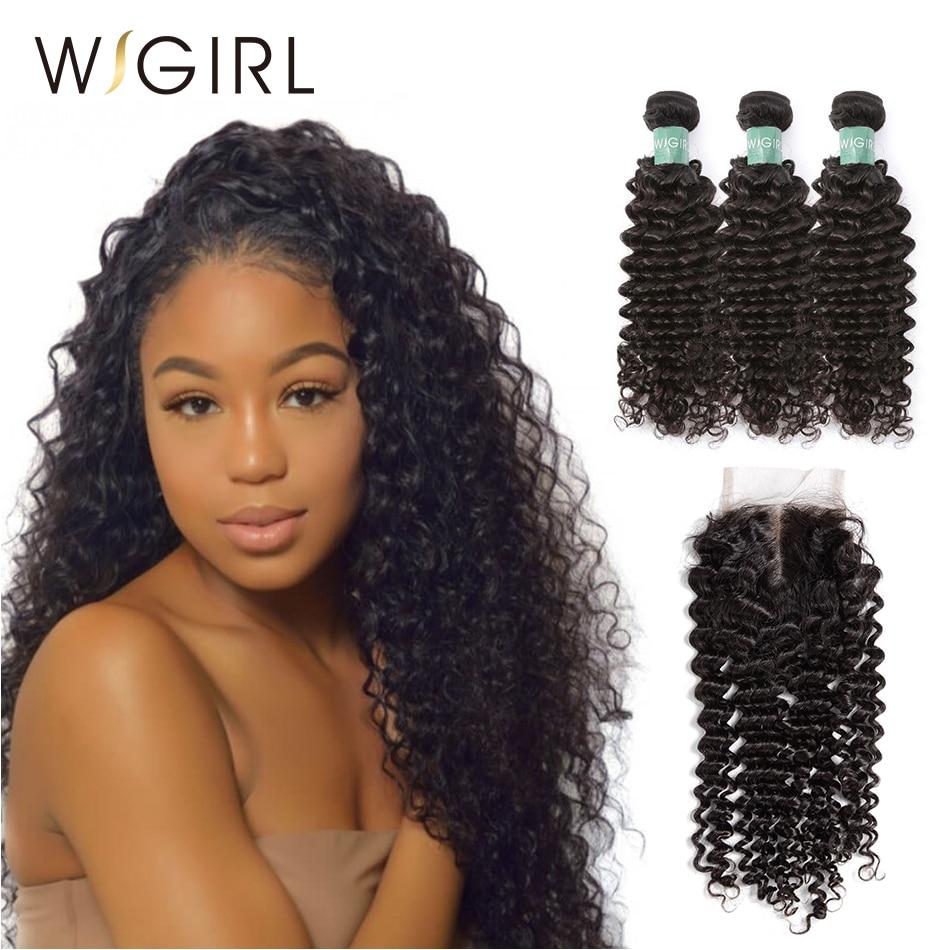 Wigirl Hair Deep Wave Bundles With Closure 3 Pcs Bundles With Middle Part 4 4 Lace