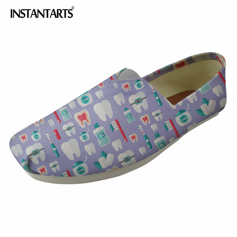 INSTANTARTS Fashion Canvas Flat Shoes Dental Equipment Printing Slip On Casual Shoes Women Female Zapatos Summer Lazy Shoes Girl