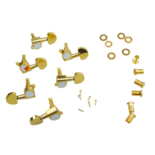 MSOR 3 Pairs Sealed Guitar String Tuning Pegs Tuners Machine Heads 3L + 3R Gold /Steel and Zinc Alloy Gold Guitar Heads