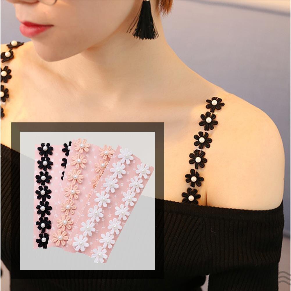 Hot Women Girl Bra Lace Flower Adjustable Bra Straps Sexy Silicone Transparent Shoulder Strap Underwear Accessories Dropship