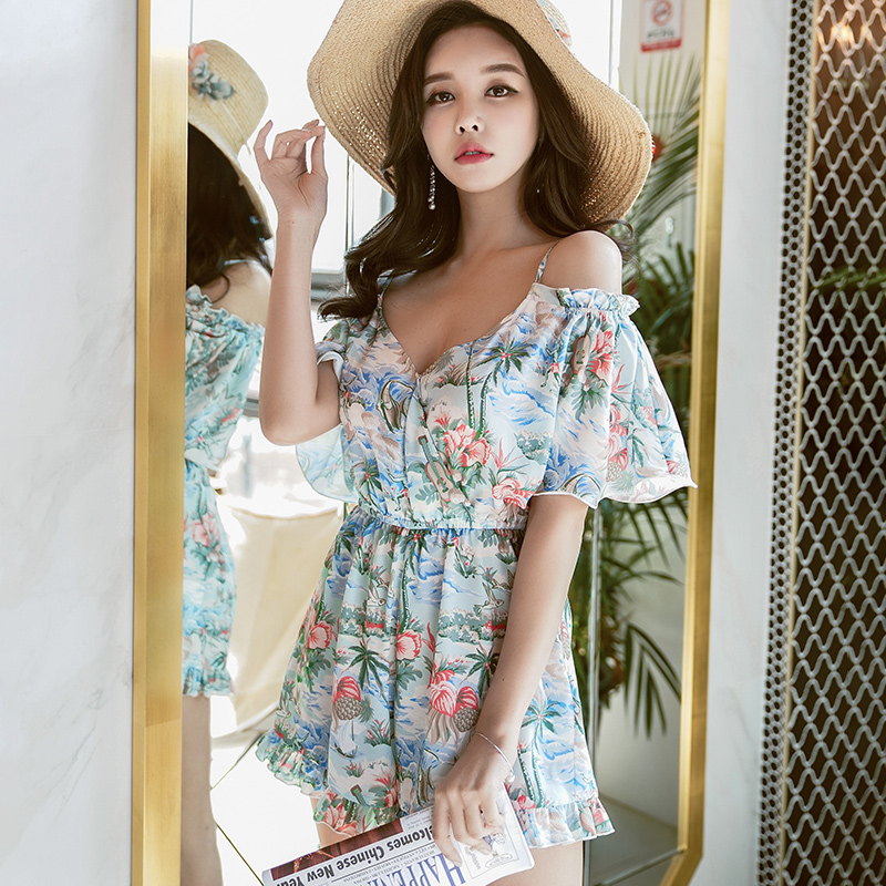 original new design 2018 brand rompers printed new korean leisure holiday straps summer floral jumpsuits women wholesale