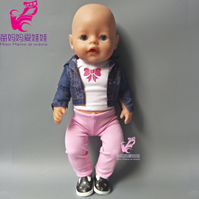 Doll Jean coat + vest + pants for 18 inch doll outwear, 43cm Zapf baby doll suit outwear